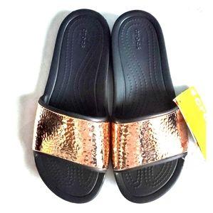 Crocs Hammered Metallic Slides - Women's Sz. 8